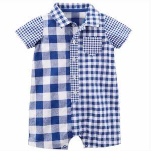 3/$25 Carter's Blue Checkered Plaid Romper